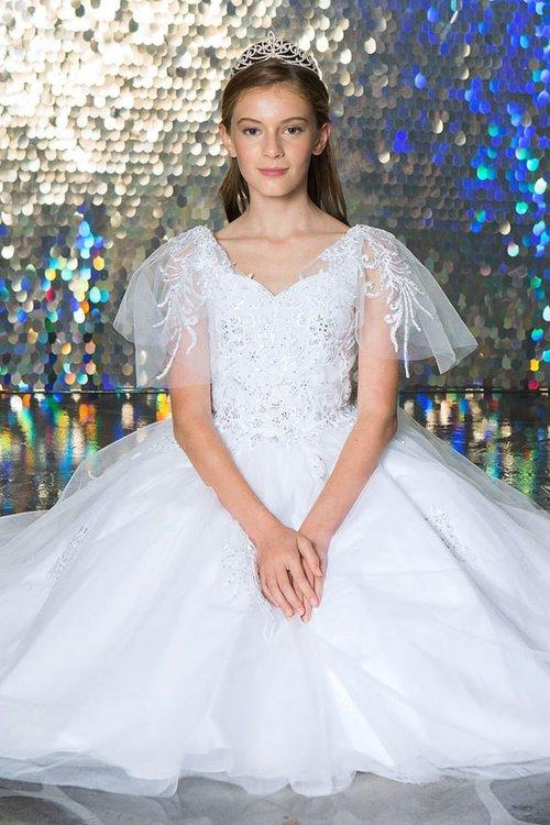Girls Embroidered Flutter Sleeve Ball Gown by Calla KY227