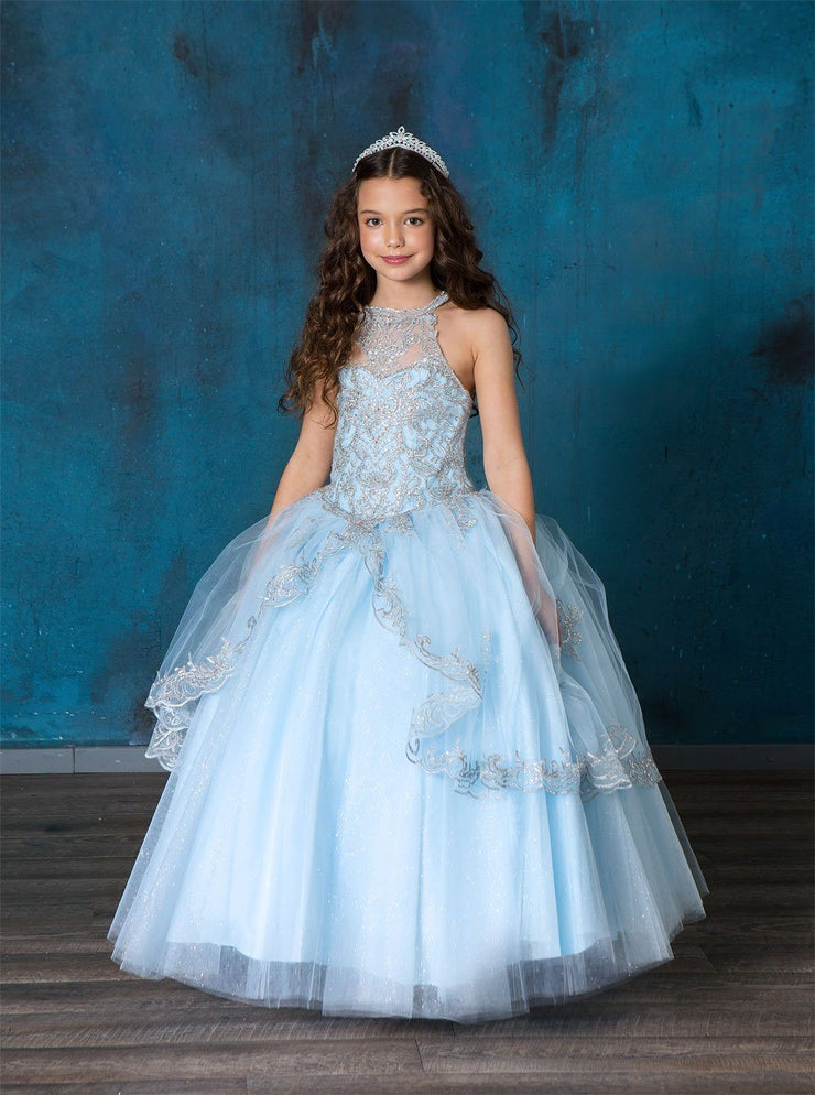 Girls Embroidered Halter Ball Gown by Calla SY144