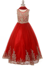 Girls Embroidered Illusion Ball Gown by Cinderella Couture 8004-Girls Formal Dresses-ABC Fashion