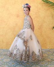 Girls Embroidered Long A-line High Neck Dress by Calla KY214-Girls Formal Dresses-ABC Fashion