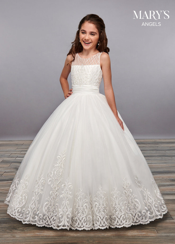 Girls Embroidered Long Illusion Dress by Mary's Bridal MB9055-Girls Formal Dresses-ABC Fashion