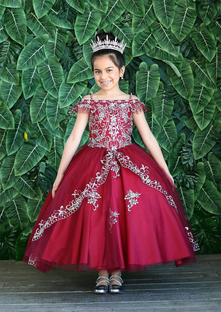 Girls Embroidered Long Off Shoulder Dress by Calla KY216-Girls Formal Dresses-ABC Fashion