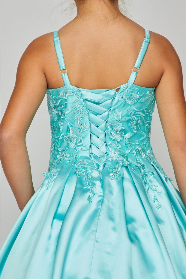 Girls Embroidered Satin Ball Gown by Cinderella Couture 8009