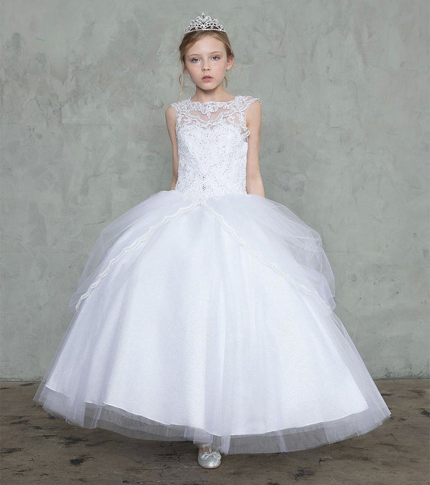 Girls Embroidered Sleeveless Ball Gown with A-line Skirt by Calla SY128-Girls Formal Dresses-ABC Fashion