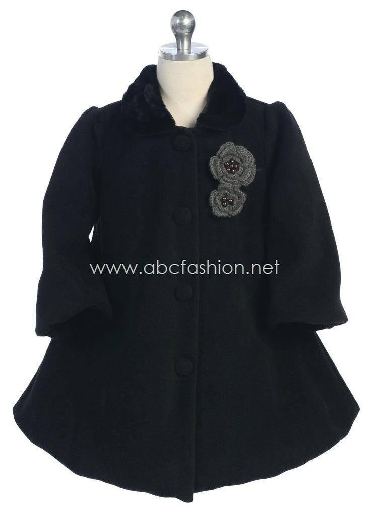 Girls Fleece Coat - Black-Girls Formal Dresses-ABC Fashion