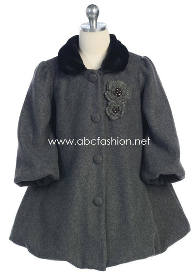 Girls Fleece Coat - Charcoal-Girls Formal Dresses-ABC Fashion