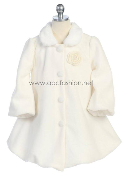 Girls Fleece Coat - Ivory-Girls Formal Dresses-ABC Fashion