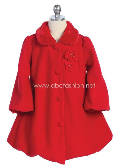 Girls Fleece Coat - Red-Girls Formal Dresses-ABC Fashion