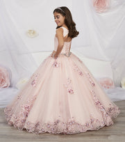 Girls Floral Appliqued Dress by Tiffany Princess 13542-Girls Formal Dresses-ABC Fashion