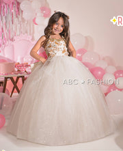 Girls Floral Beaded Ivory Ball Gown by Ragazza Kids N15-715