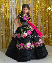Girls Floral Charro Ball Gown by Ragazza Kids N08-708