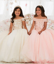 Girls Floral Lace Long Off Shoulder Dress by Tiffany Princess 13565-Girls Formal Dresses-ABC Fashion
