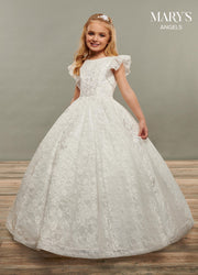 Girls Flutter Sleeve Long Allover Lace Dress by Mary's Bridal MB9068
