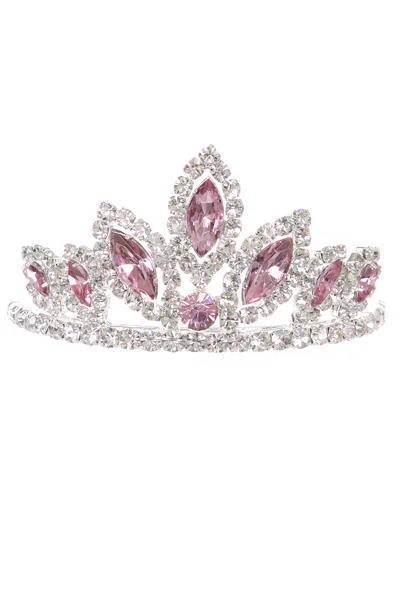 Girls Fuchsia Stone Mini Silver Tiara with Comb