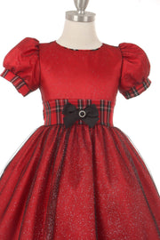 Girls Glitter Plaid Dress with Short Sleeves by Cinderella Couture 1213-Girls Formal Dresses-ABC Fashion