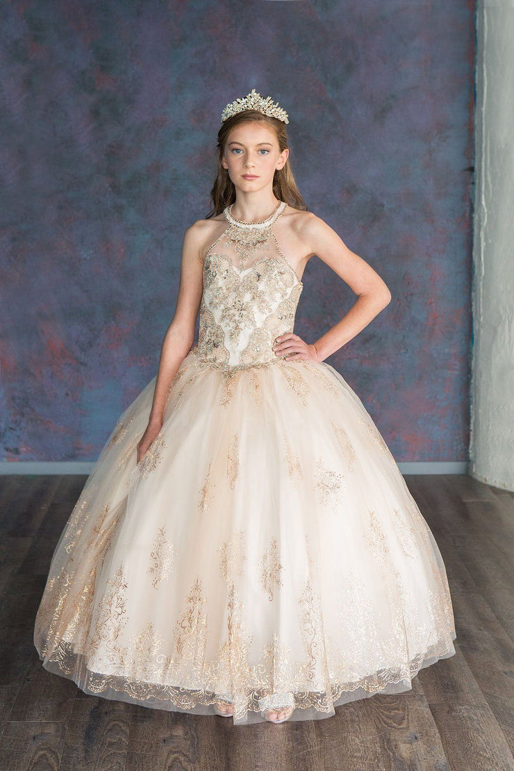Girls Glitter Print Halter Ball Gown by Calla SY139