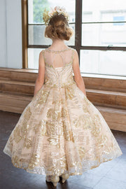 Girls Gold Sequin Floral Print Long Illusion Dress by Calla KY215-Girls Formal Dresses-ABC Fashion