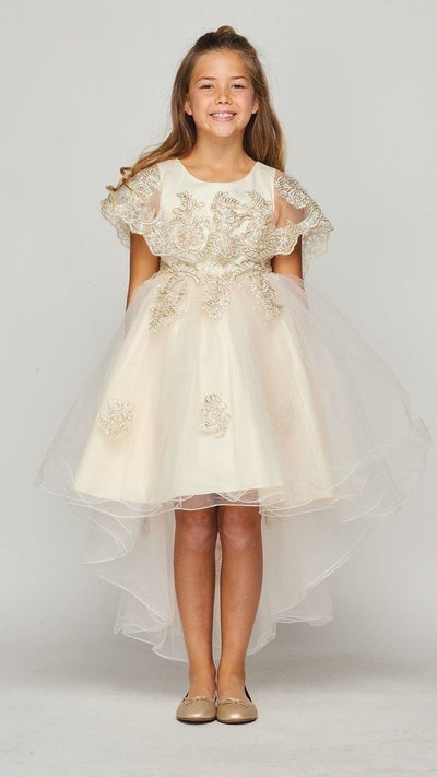 Girls High Low Cape Dress by Cinderella Couture 9121