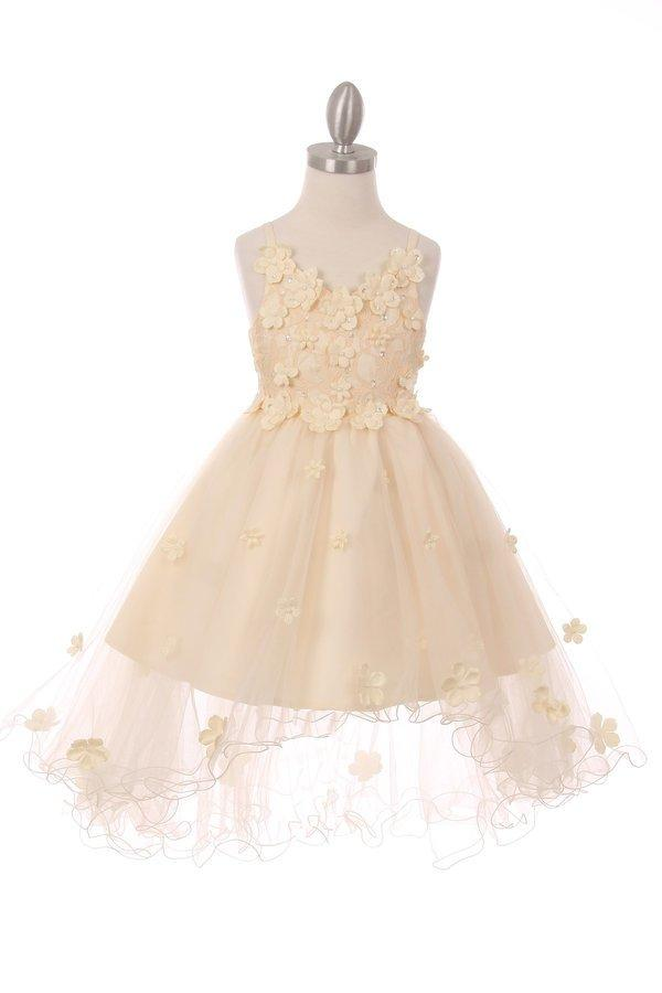 Girls High Low Dress with 3D Appliques by Cinderella Couture 9019-Girls Formal Dresses-ABC Fashion