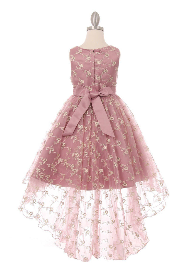 Girls High Low Dress with 3D Flowers by Cinderella Couture 9057-Girls Formal Dresses-ABC Fashion
