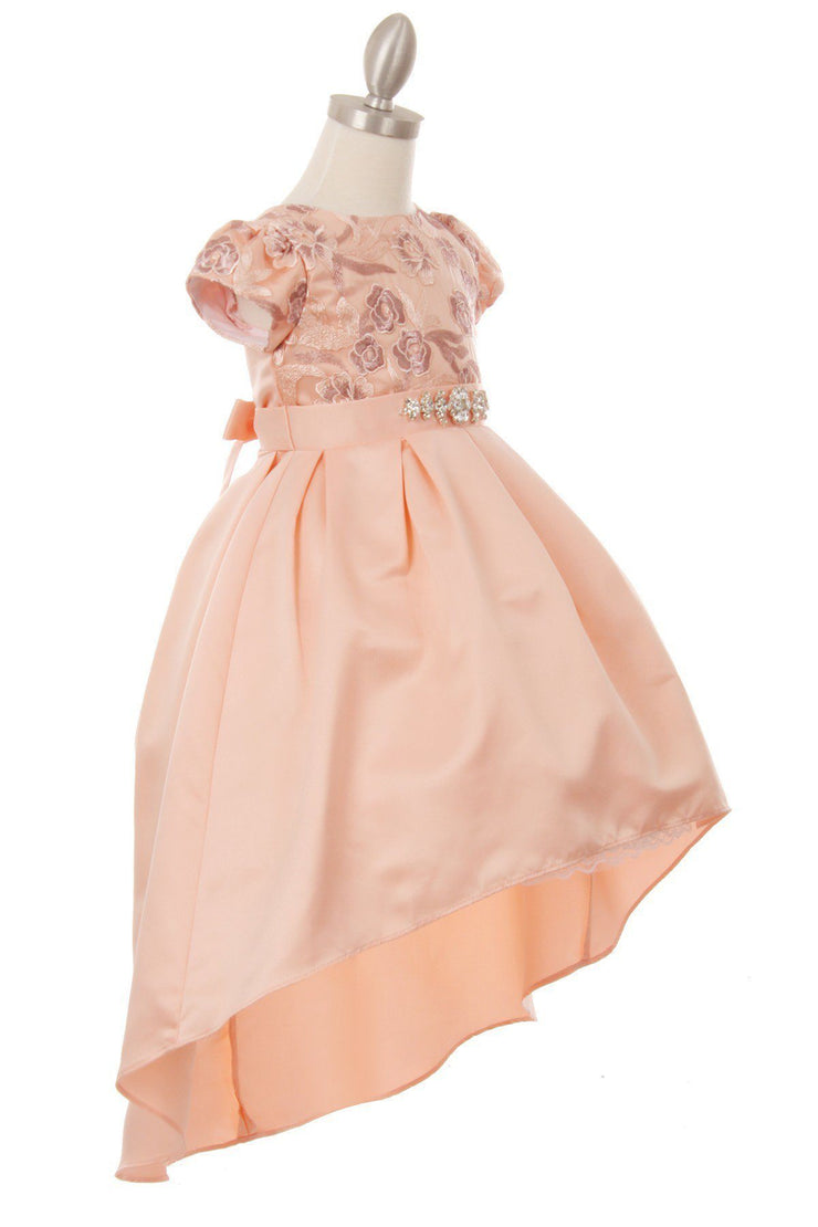 Girls High Low Dress with Embroidered Bodice by Cinderella Couture 9106-Girls Formal Dresses-ABC Fashion