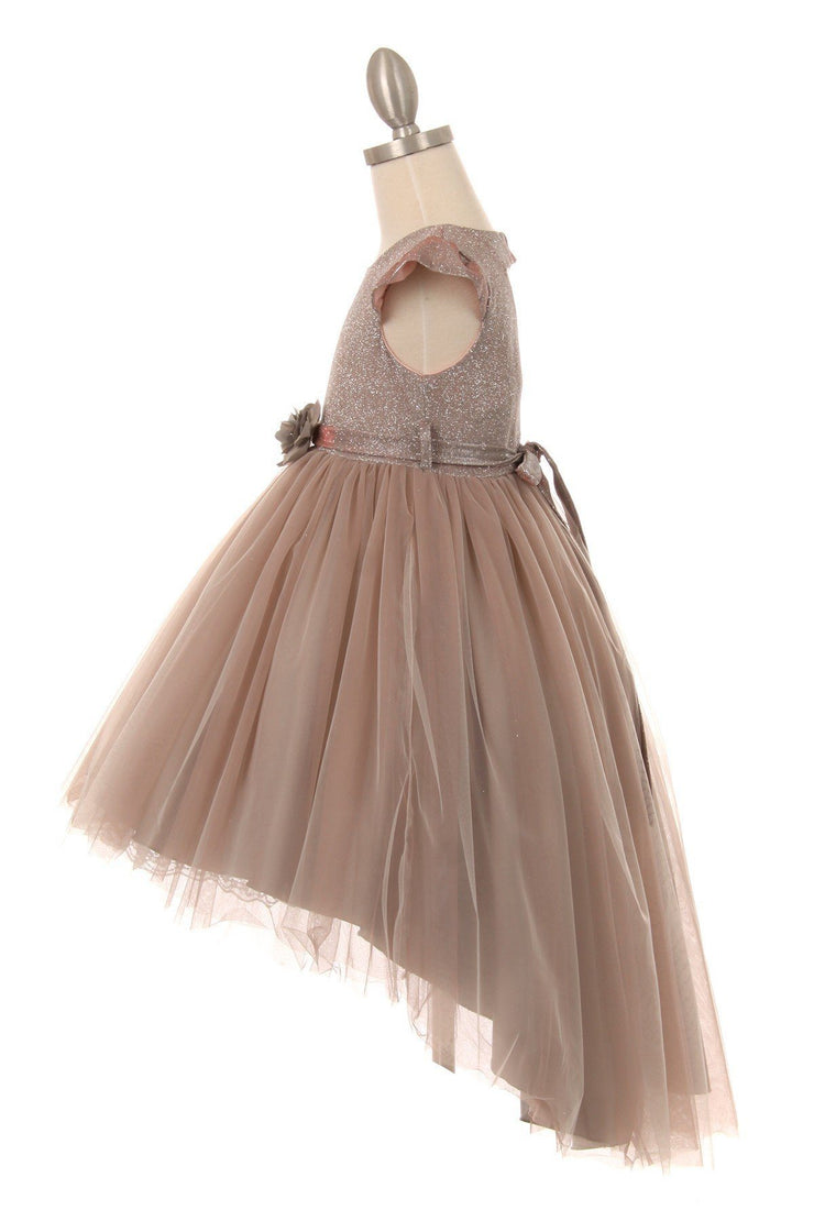 Girls High Low Dress with Glitter Top by Cinderella Couture 5072-Girls Formal Dresses-ABC Fashion