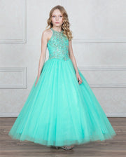 Girls High Neck A-line Ball Gown with Beaded Bodice by Calla KY207-Girls Formal Dresses-ABC Fashion