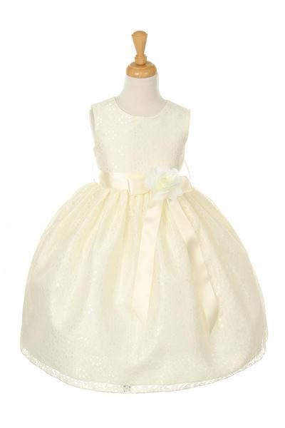 Girls Ivory Raschel Lace Tea Length Dress with Flower Sash-Girls Formal Dresses-ABC Fashion