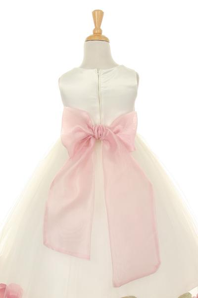 Girls Ivory Satin Dress with Aqua Flower Petal Skirt-Girls Formal Dresses-ABC Fashion