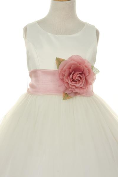 Girls Ivory Satin Dress with Blue Flower Petal Skirt-Girls Formal Dresses-ABC Fashion