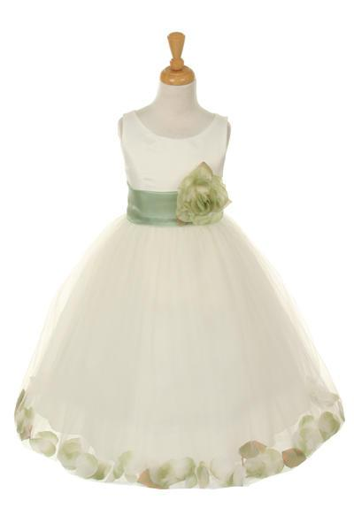 Girls Ivory Satin Dress with Sage Flower Petal Skirt-Girls Formal Dresses-ABC Fashion