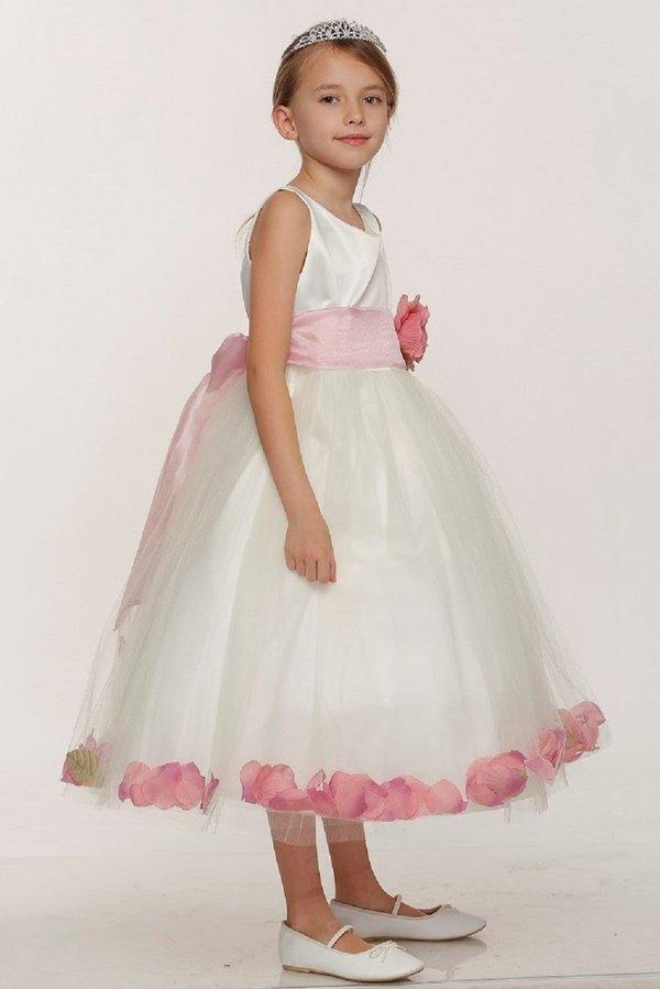 Girls Ivory Satin Dress with Teal Flower Petal Skirt-Girls Formal Dresses-ABC Fashion