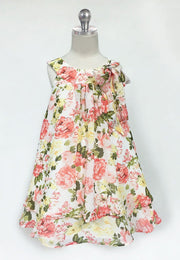 Girls Ivory/Pink Short Chiffon Floral Print Dress by Calla C621-Girls Formal Dresses-ABC Fashion