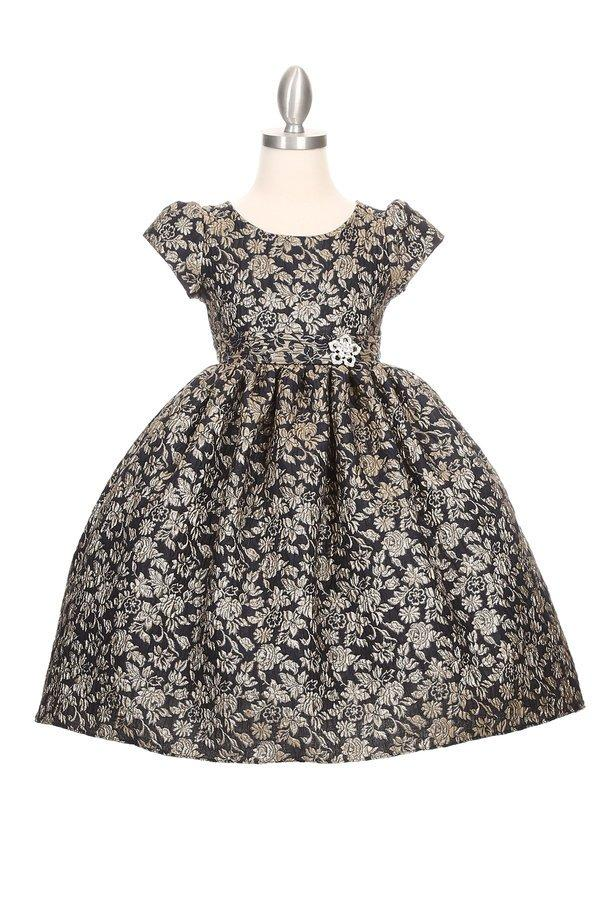 Girls Jacquard Floral Print Dress with Short Sleeves-Girls Formal Dresses-ABC Fashion