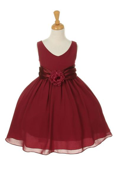 Girls Knee Length Dresses with Floral Sash - 6 Colors-Girls Formal Dresses-ABC Fashion