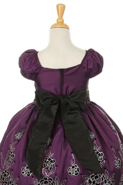 Girls Knee Length Purple Dresses with Flower Design-Girls Formal Dresses-ABC Fashion