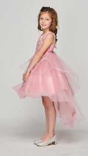 Girls Lace Applique High Low Dress by Cinderella Couture 9120