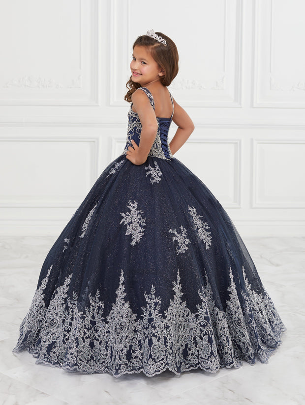 Girls Lace Applique Long Glitter Dress by Tiffany Princess 13596-Girls Formal Dresses-ABC Fashion