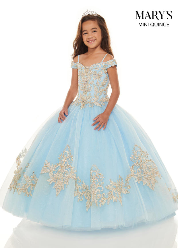 Girls Lace Applique Long Off Shoulder Dress by Mary's Bridal MQ4023