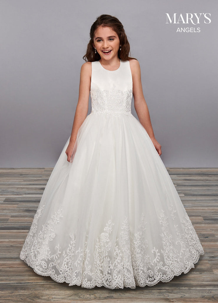 Girls Lace Applique Long Sleeveless Dress by Mary's Bridal MB9058-Girls Formal Dresses-ABC Fashion