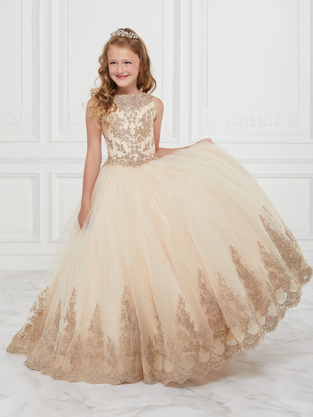 Girls Lace Applique Long Sleeveless Dress by Tiffany Princess 13598-Girls Formal Dresses-ABC Fashion