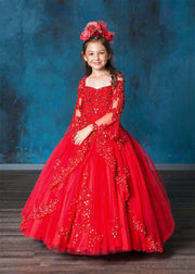 Girls Lace Bell Sleeve Ball Gown by Calla KY229