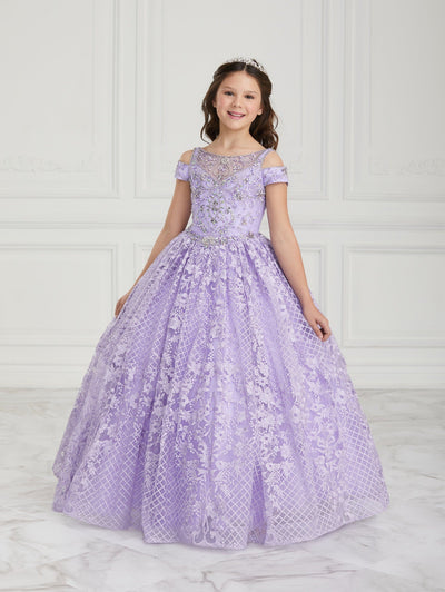 Girls Lace Long Cold Shoulder Dress by Tiffany Princess 13607