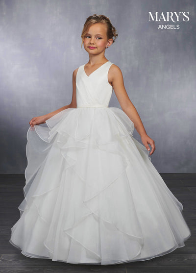 Girls Layered Long V-Neck Dress by Mary's Bridal MB9033