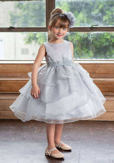 Girls Layered Organza Dress with Lace Appliques by Calla D763-Girls Formal Dresses-ABC Fashion