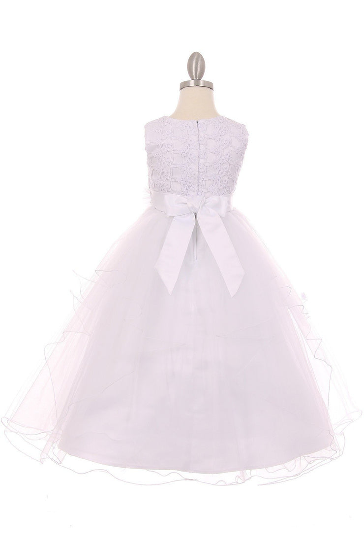 Girls Layered Organza Dress with Lace Bodice by Cinderella Couture 9036-Girls Formal Dresses-ABC Fashion