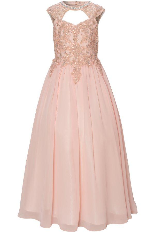 Girls Long A-line Chiffon Dress with Beaded Lace Bodice-Girls Formal Dresses-ABC Fashion