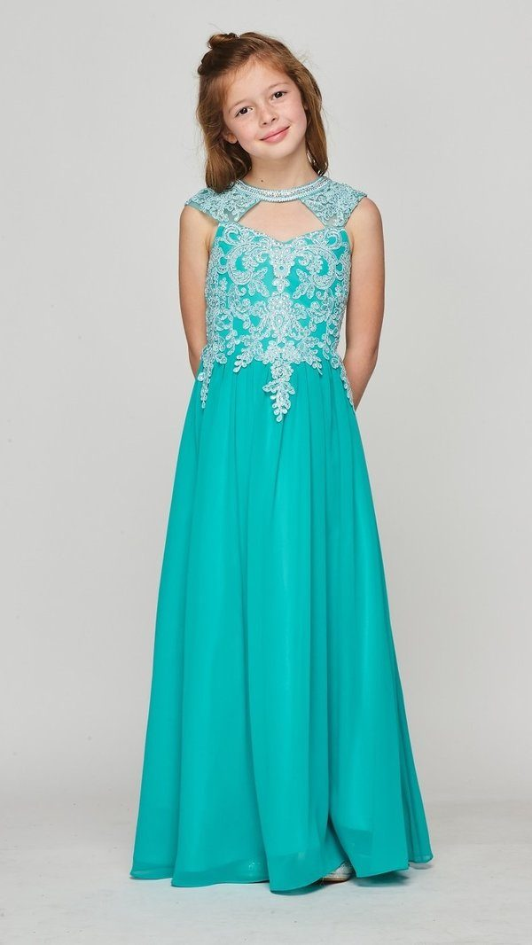 Girls Long A-line Chiffon Dress with Beaded Lace Bodice