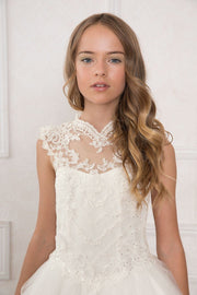 Girls Long A-line Dress with Illusion Lace Bodice by Calla SY118-Girls Formal Dresses-ABC Fashion