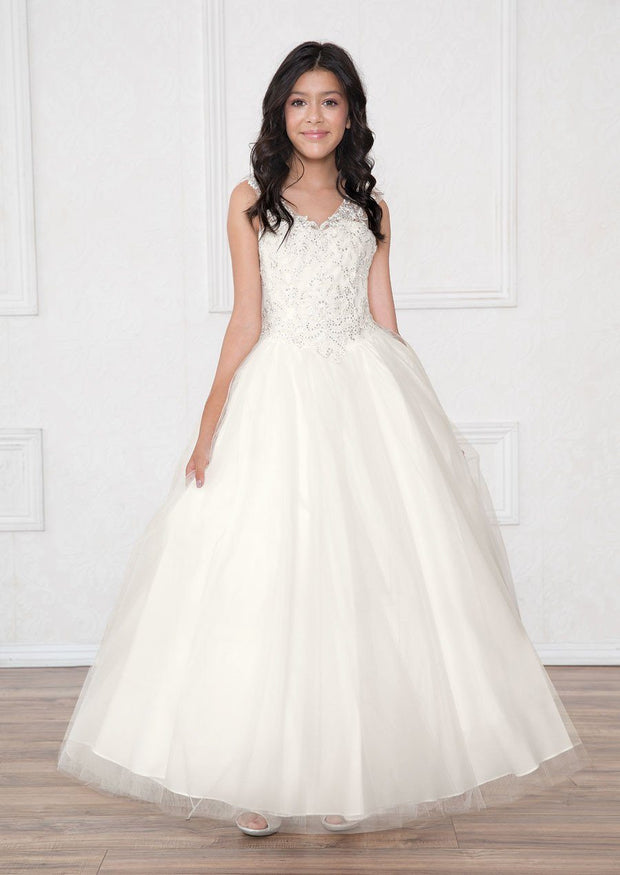 Girls Long A-line Dress with Lace Bodice by Calla SY119-Girls Formal Dresses-ABC Fashion